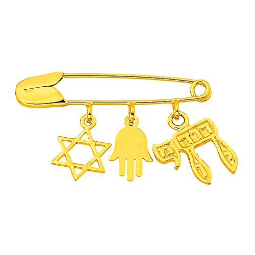 14K Yellow Gold Jewish Symbol Safety Pin with Star of David, Hamsa, Chai Charms