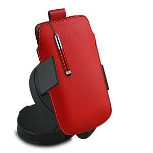 ONX3 Alcatel One Touch 3040 Leather Slip cuerda protectora magnética de la PU Pull In Pouch Case lanzamiento rápido con Mini capacitivo Retractabletylus Pen, 3.5mm en auriculares del oído, mini altavoz recargable Cápsula, 360 Rotación del parabrisas del coche horquilla del sostenedor del montaje, Micro USB CE aprobó 3 Mains Pin Cargador, 12v Micro USB cargador de coche (Blanco)