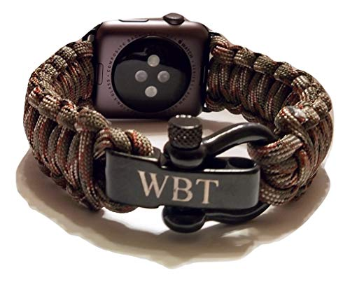 Engraved Four - WATER BEAR TACTICAL 550 Paracord Band Made for Apple Watch 42mm & 44mm with Stainless Steel Shackle for Apple Watch Series 4, 3, 2, 1 (Brown Camo, Small)