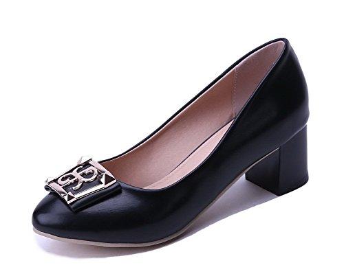 AgooLar Damen Spitz Zehe Ziehen auf PU Eingelegt Mittler Absatz Pumps Schuhe, Rot, 33