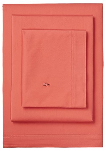 Lacoste Brushed Twill Pillowcase Pair, Wrinkle Resistant, 230 Thread Count, Standard, Deep Sea Coral