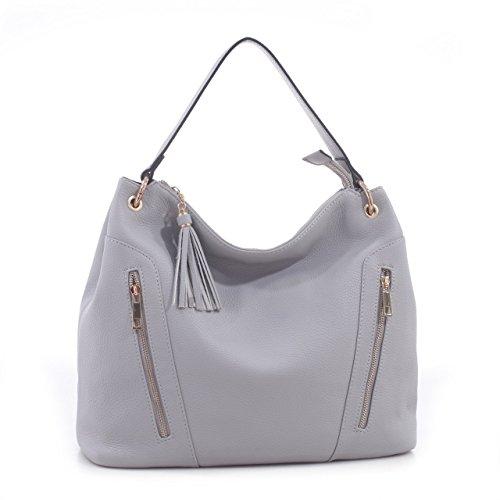 Clairene Designer Inspired Faux Leather Matching Tassel Hobo Shoulder Handbag - Gray