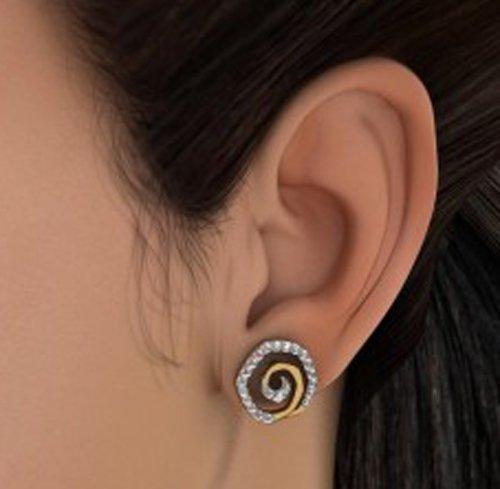 14K jaune Or 0,42CT TW White-diamond (IJ   SI) Boucles d'oreille à tige