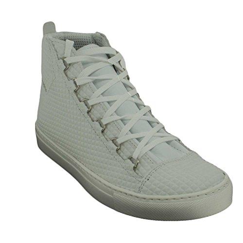 Sneakers Uomo Alta Stringata Bianco Forata Pelle Made in Italy men shoes scarpe