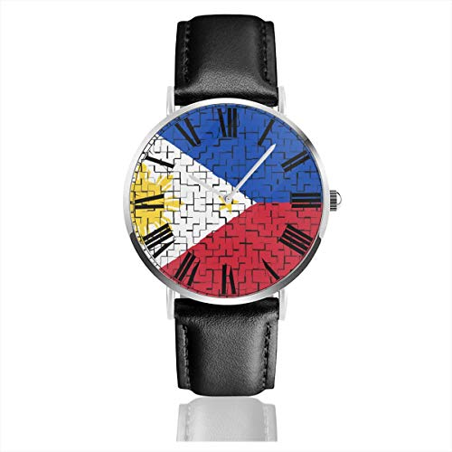 STWINW Philippine Flag Puzzle Men'sFashion Sport Watch PU Leather Band Quartz Wrist Watches Waterproof Business Watch White
