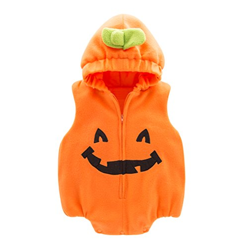 May's Infant Toddler Halloween Baby Kids Cute Pumpkin Costume Polar Fleece Comfy Jumpsuit ()