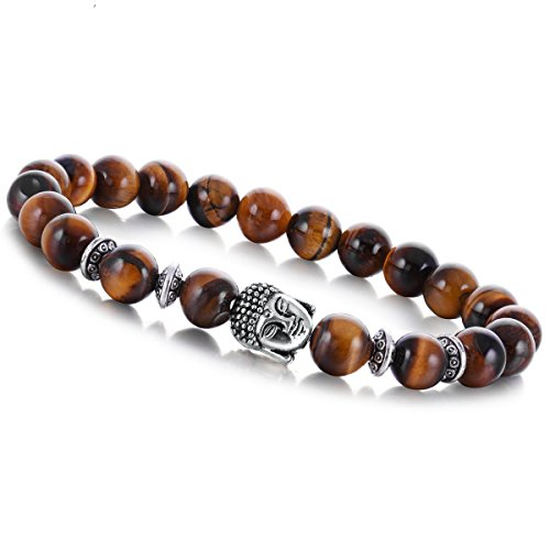 (Joya Gift Fashion Jewelry BraceletsTiger Eye Gemstone 8MM Round Beads Buddha Chakra Bracelet for Men Gifts)