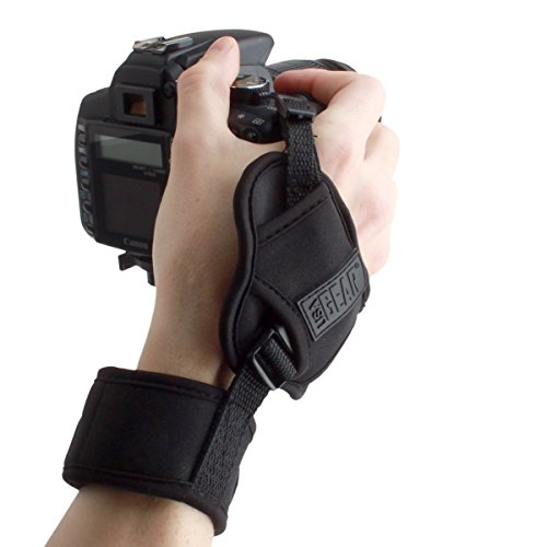 USA GEAR Professional Camera Grip Hand Strap with Black Neoprene Design and Metal Plate - Compatible with Canon , Fujifilm , Nikon , Sony and more DSLR , Mirrorless , Point & Shoot Cameras