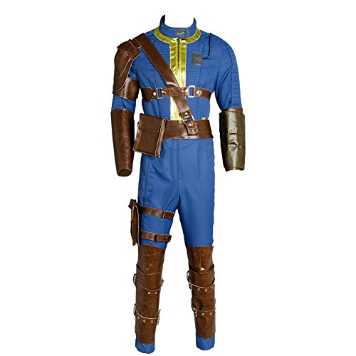 Hibuyer Men's Sole Survivor Nate Vault 111 Vault 76 Adult Jumpsuit Halloween Cosplay Costume Outfit Blue (X-Small, 111)]()
