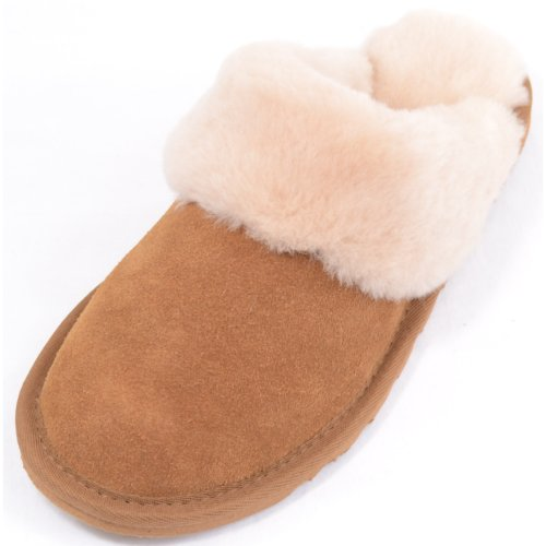 SNUGRUGS Ladies Luxury Sheepskin Mule Slipper With Sheepskin Cuff and Light Weight Flexible Sole - Chestnut - US 7