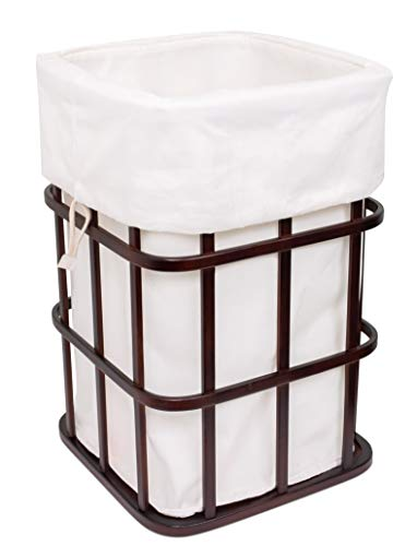 (BIRDROCK HOME Modern Square Laundry Hamper and Removable Laundry Bag | Dark Brown Bamboo | Easily Transport Laundry | Baby Dirty Clothes Bin Sorter Basket | Laundry Bag with Draw String)