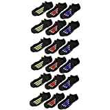 adidas Boys / Youth Cushioned No Show Socks (6-Pack), Black/Active Blue/Light Onix Black/Active Red, 13C-4Y