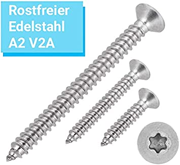 Blechschrauben Senkkopf 2,9x22 Torx Edelstahl ISO 14586 DIN 7982 Bohrspitze-selbstschneidend 2,9 x 22 mm 100 St/ück