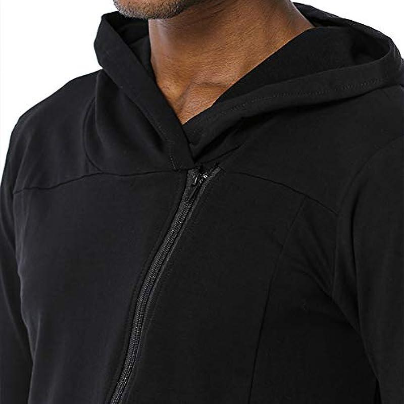 Zipzop Zip-uo Męskie Jacke mit Kapuze Hoher Kragen Unregelmäßige Sweatshirts Slim Fit Cardigan Mantel für Herbst und Winter: Odzież
