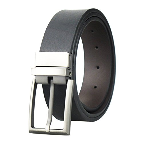 Belt Matte - Men's Reversible Matte Black/Brown Leather Dress Belt 1.3