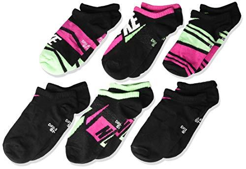 Nike Kids' Performance Lightweight No-Show GFX Training Sock (6 Pair), Ankle Socks with Sweat-Wicking Comfort, Black/Lethal Pink/Multi-Color, M (Socks Girls Nike Kids)