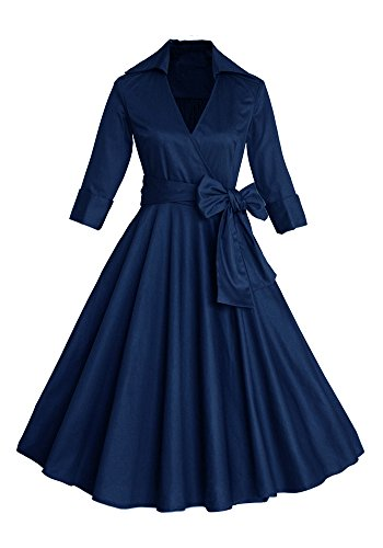 Botomi Las Mujeres con Cuello en V Profundo 3 / 4 manga Bow Belt Vintage Casual vestido cl¨¢sico swing 26.2XL Dark blue