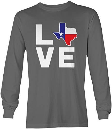Love Texas Map - Texan State Pride Unisex Long Sleeve Shirt (Charcoal, Medium)