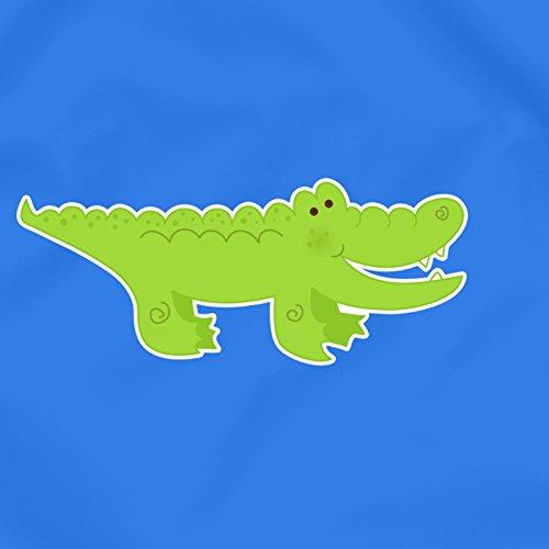 plot4u Turnbeutel Krokodil Sportbeutel für Schule Sport Sporttasche Bag Base® BG10 Gymsac 45x34cm lime grün/farbiger Aufdruck Saphir Blau/Farbiger Aufdruck