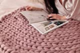 HomeModa Knit Blanket Throw Soft Rug Sofa Bed Lounge Decorator Knitted Small Size Pet Bed Mat Rug (39.4x47.2inches-100x120cm, Blush)