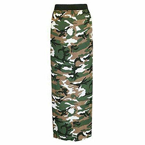 Mujer Gitana Larga Falda Elástico Jersey Vestido Verano Maxi impreso vestido tamaños 8–�?0, 12–�?4 camouflage