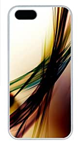 3D Colorful Lines Polycarbonate Plastic iPhone 5S and iPhone 5 Case Cover White