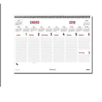 Ingraf 948170 - Planificador semanal de sobremesa, castellano, con espiral, 44 x 32 cm, color blanco