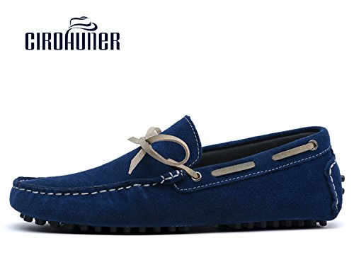 Cirohuner Mens Mocassini In Pelle Scamosciata Casual Slip-on Driving Shoes Blu