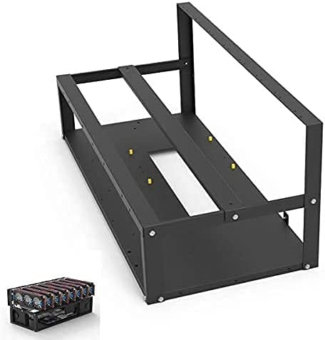 Mining Rig Frame,Springhall Steel Open Air Miner Mining Frame Rig Case Up to 8 GPU for Crypto Coin Currency Bitcoin Mining Accessories Tools -Frame Only, Fans & GPU is not Included