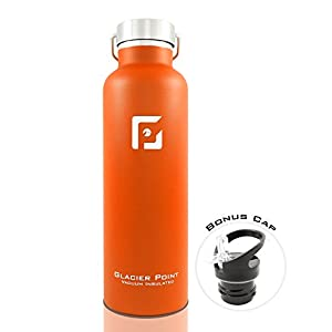 Best Vacuum Insulated Stainless Steel Water Bottle (25oz / 750ml). Double Walled Construction. Zero Condensation! By Glacier Point (Orange)
