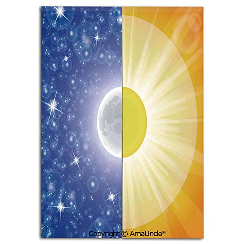 Customized Doorway Curtain to Keep Privacy,Split Design with Stars in the Sky and Sun Beams Light Solar Balance Image(33.5x59 Inches),Room Divider Curtain,Family Half Curtain for Home Decoration