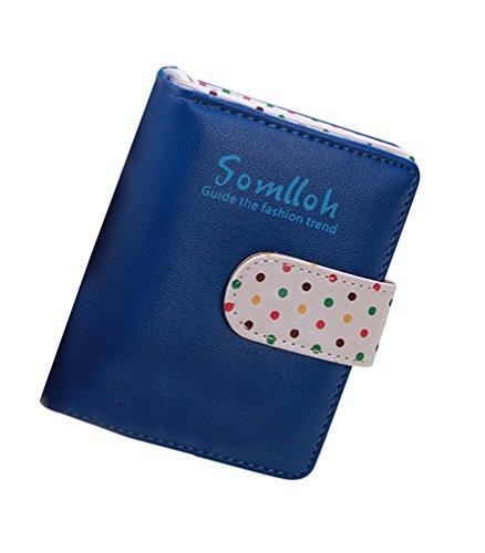 Monedero De Mini Polka Bifold Azul La Tarjeta Chica De Zafiro zafiro Billetera Titular Mujeres Cuero Dots Las Azul Linda xIYgfg