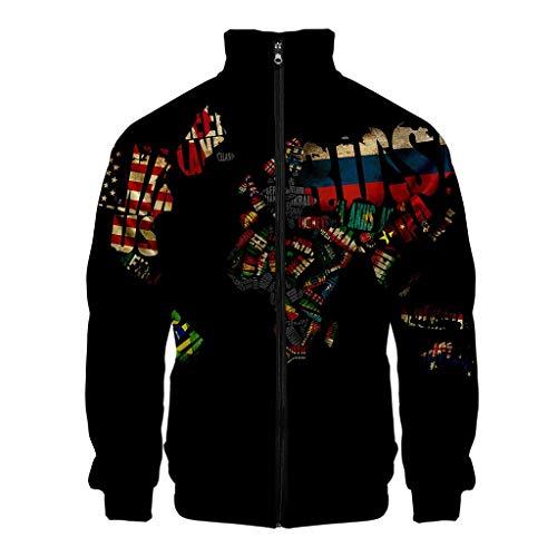 Men 3D Printed Coat, NDGDA Unisex Front Zipper Long Sleeve Baseball Jacket World Map Cardigan Standing Collar Tops