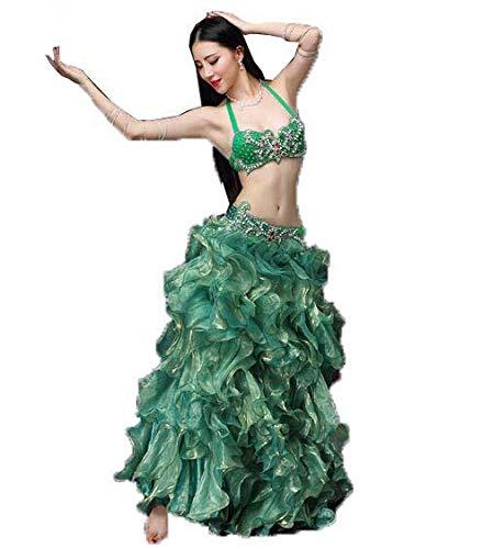 女性のベリーダンス衣装大人の大きなスイングスカート衣装プロダンサーロングスカート B07MKPPRKS Large|Green Green Large