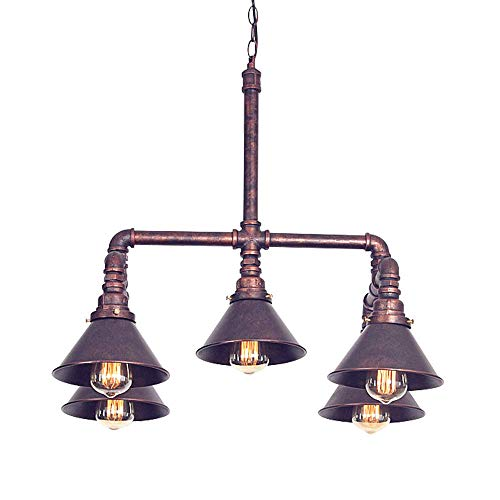 BSTOOL Antique Industrial Steampunk Water Pipe Ceiling Light Copper Chandelier Hanging Drop Pendant Lamp 5 Lights Room Bar Decoration (Track Patio Outdoor Lighting)