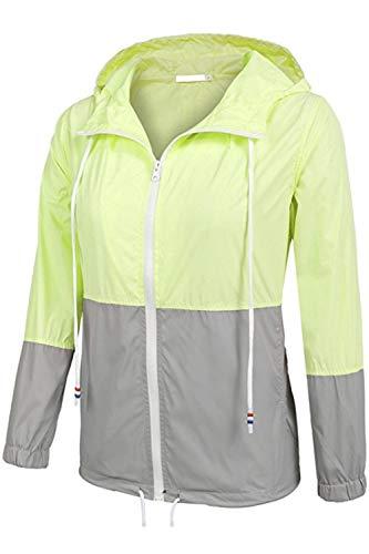 Hoodie 's Women Windbreaker Verde Cremallera Block Jacket Color Waterproof TPqz7q4w