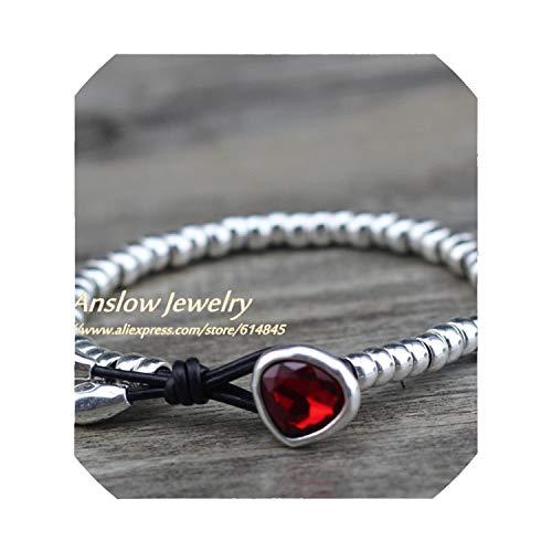 (JustJ Bracelet Jewelry Cute Romantic Crystal Heart Couple Handmade StrBeads Friendship Gift Black Red 20cm)