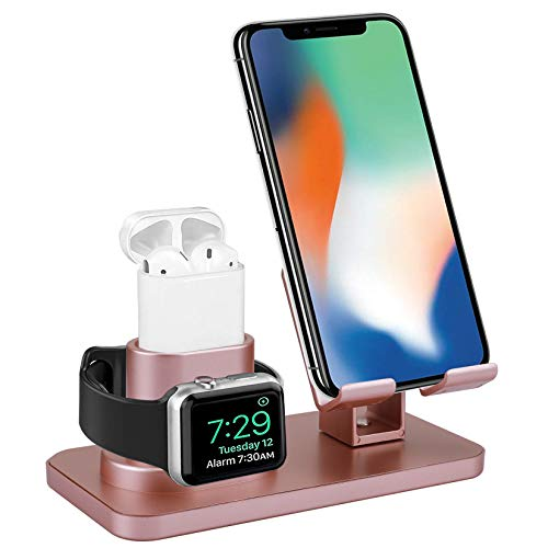 Smartelf 3 in 1 Charging Stand for Apple Watch Series 5/4/3/2/1,Charging Dock Station for AirPods 1/2,Phone Holder for iPhone 11/11 Pro/11 Pro Max/X/XS/XS Max/XR/8/8 Plus/7/7 Plus/6S/6S Plus-Rose Gold
