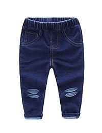 Buy-Box Girls Boys Kids 1pcs Shredded Jeans Casual Long Stretch Denim Pant