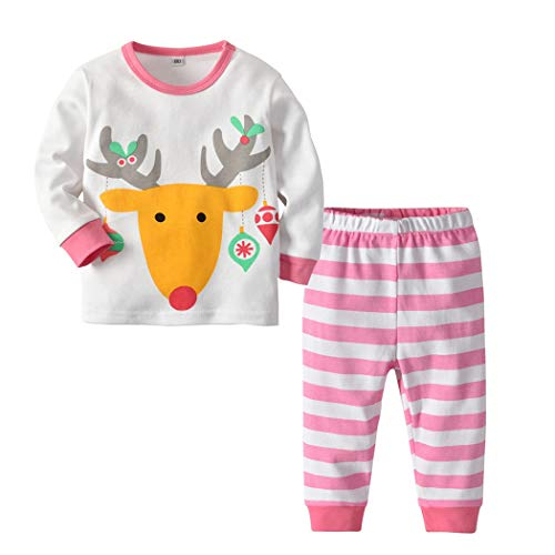 FUNOC Kid Christmas Pajamas Set Toddler Cotton Clothes Children Sleepwear (4-5 Years, White)