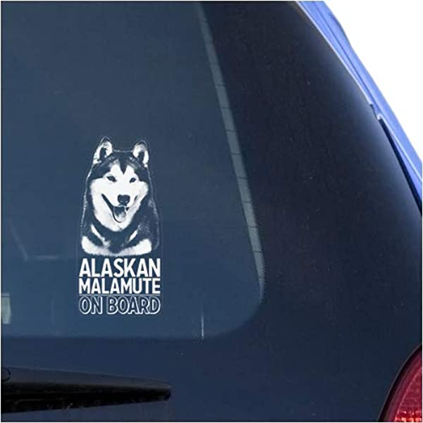 Sibe Huskies Dog Sign Art Print Siberian Husky Clear Vinyl Decal Sticker for Window