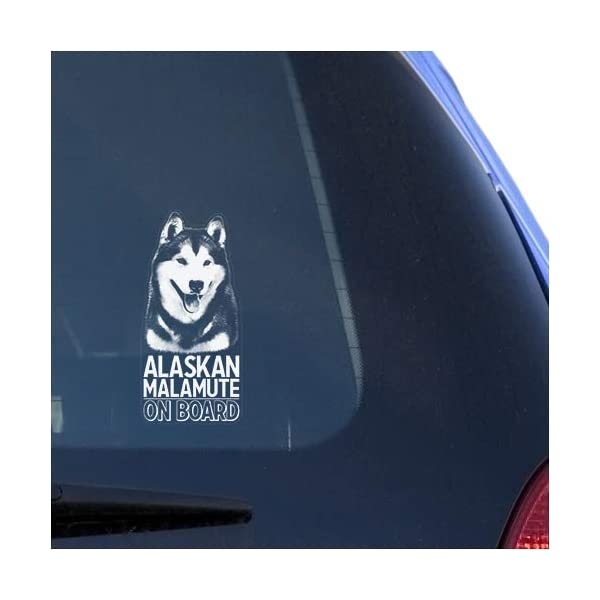 Alaskan Malamute Clear Vinyl Decal Sticker Portrait for Window, Mally Dog Sign Art Print Design 1