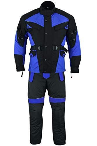 German Wear 2-teiler Motorradkombi Cordura Textilien Motorradjacke + Motorradhose, 52/L, Blau