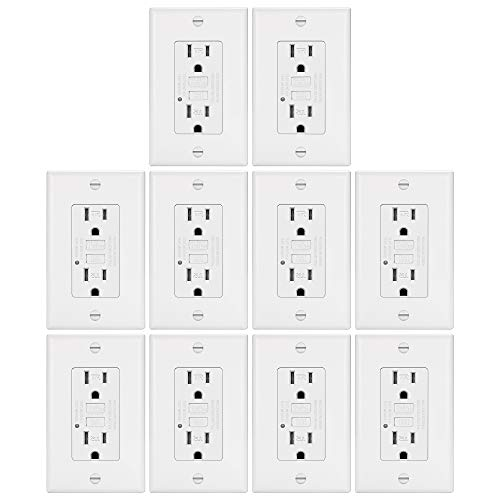 10 Pack - ELECTECK 15A/125V Tamper Resistant GFCI Outlets, Decor Receptacles with LED Indicator, Decorator Wall Plate and Screws Included, Residential and Commercial Grade, ETL Certified, White (15 Amp Outlet Pack)