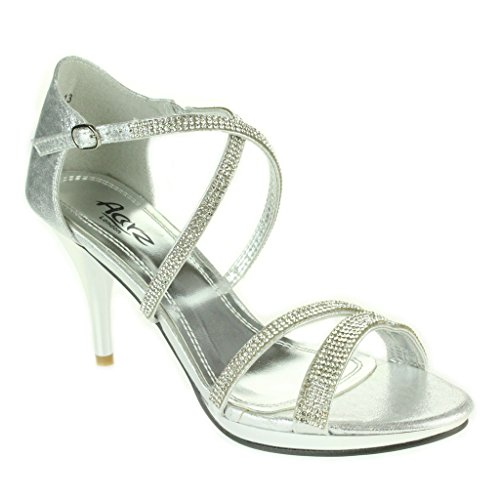 Mujer Señoras Diamante Plataforma Correa cruzada Tacón alto delgado Noche Fiesta Boda Paseo Nupcial Estilete Sandalias Zapatos Talla Plata.