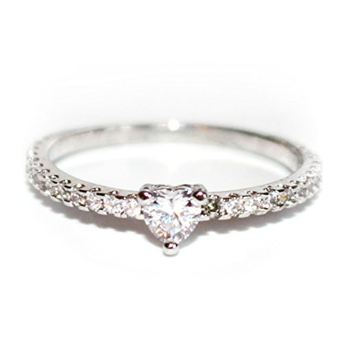 Gieschen Jewelers White Heart 14K Rose/White Gold-Plated CZ Crystal Ring