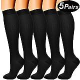 5 Pairs Compression Socks for Men & Women 15-20 mmHg Medical Graduated Compression Stockings for Sports Running Nurses Shin Splints Diabetic Flight Travel Pregnancy (Black, S/M)