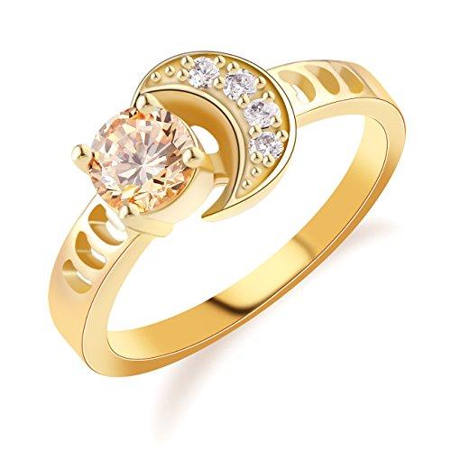 - GULICX Light Brown Round Cz Gold Tone Half Moon Shape Ring Size 7,8,9,10