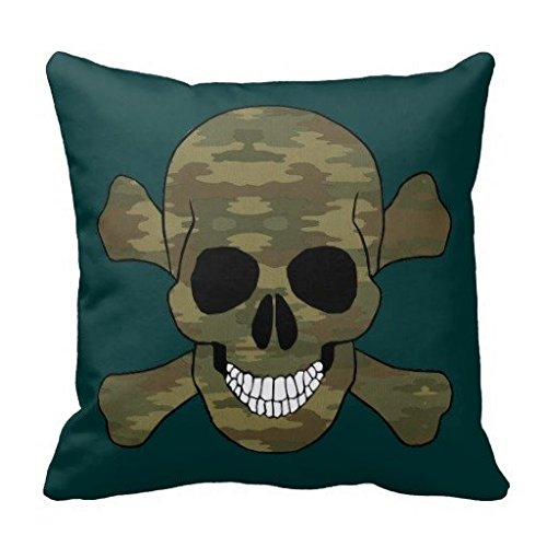 - Comfortmill Camouflage Skull And Crossbones Throw Pillow Square 18 X 18 Inches
