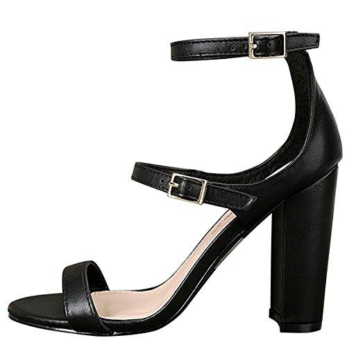 Breckelle's Women Open Toe Triple Buckle Strap Mary Jane Chunky High Heel Pumps Sandal 7.5 Black
